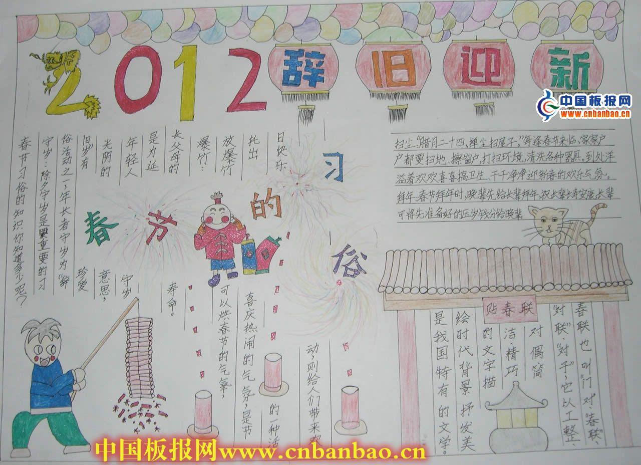 2014小学生春节习俗手抄报3篇