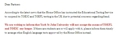 York St John University暂时不认可托福成绩