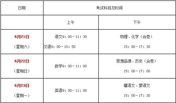 2014青海海东中考考试时间及科目安排