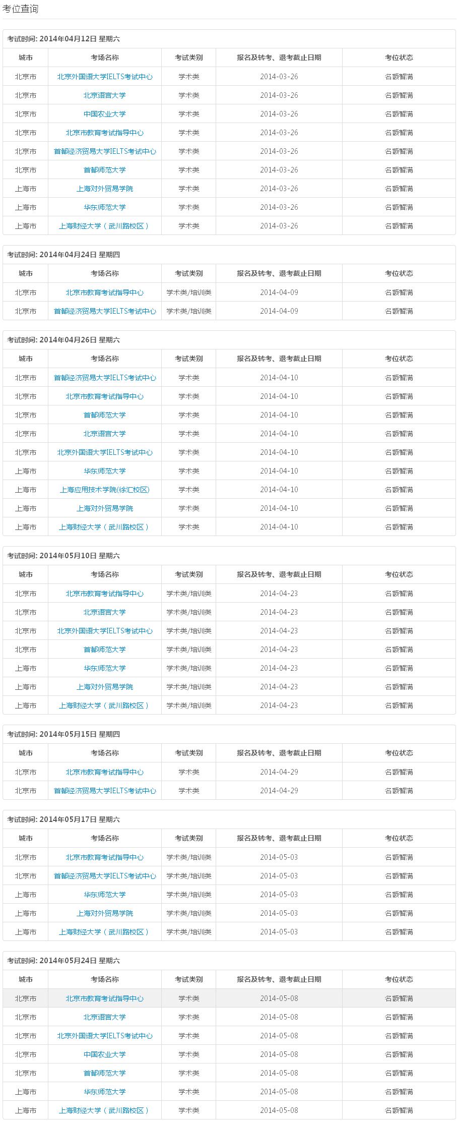 2014年雅思报名官网改版: 北京5月考位已满插图1