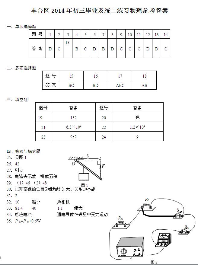 2014北京丰台区中考二模物理试题及答案(图片版)