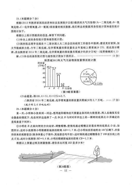 2014陕西中考数学试题及答案(图片版)