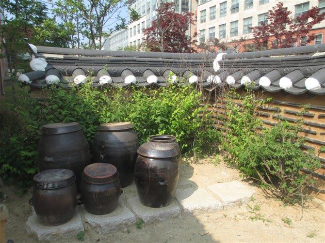 在仁川大学校园里看到的,富有韩国风情的民宅及景观一角,摆放着许多的泡菜坛。