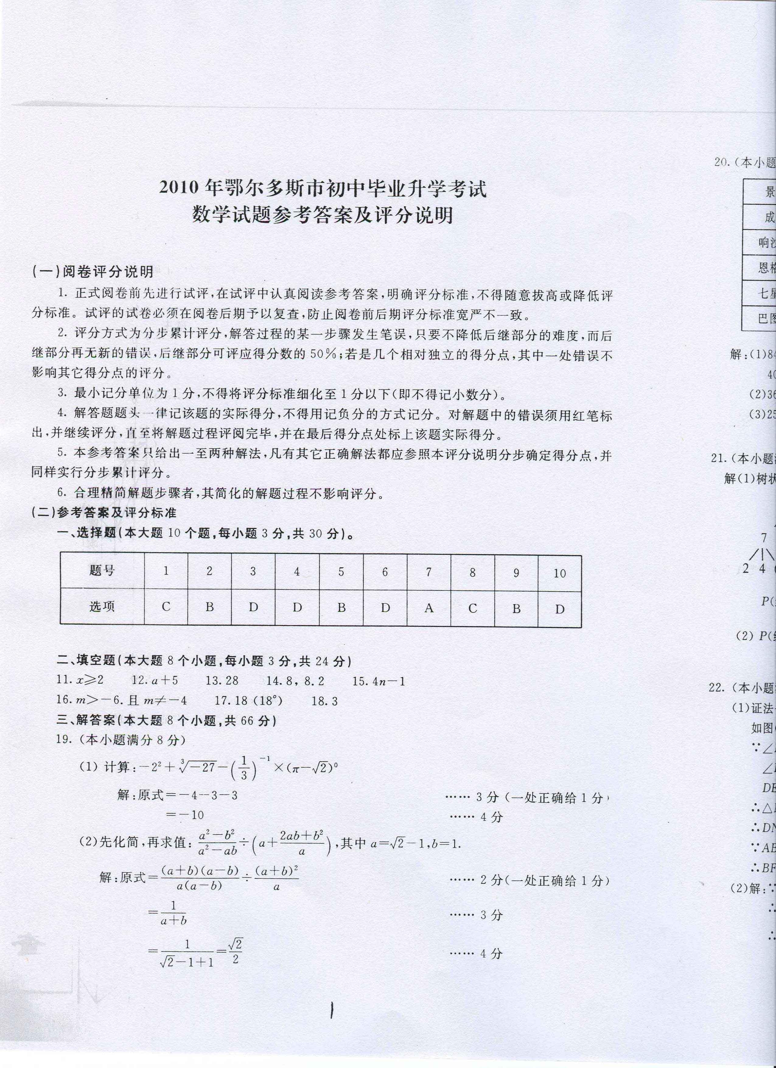 2010鄂尔多斯中考数学试题及答案(图片版)