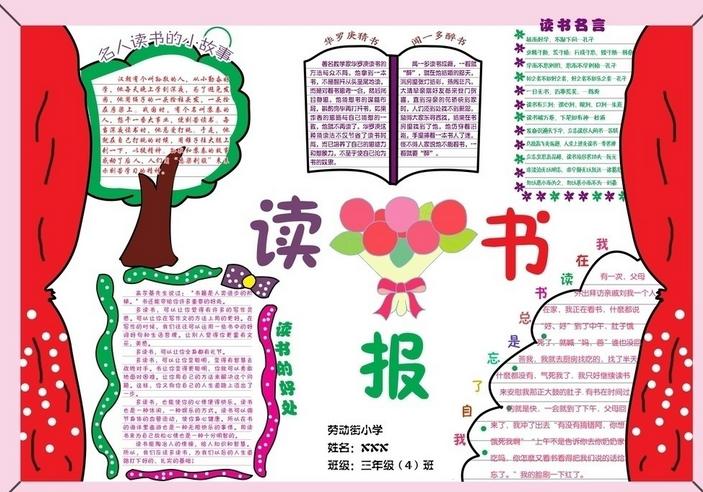 关于读书的手抄报 关于读书的手抄报版面设计图大全