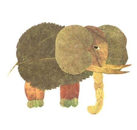 树叶贴画作品欣赏 大象