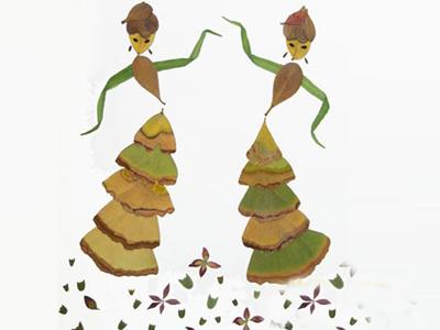 树叶贴画作品欣赏 爱跳舞的女孩