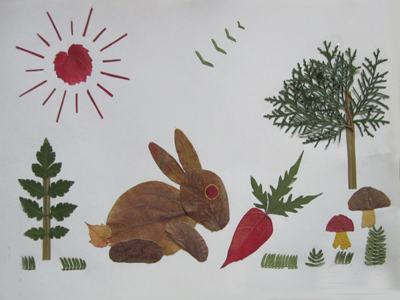 树叶贴画作品欣赏 可爱的小白兔