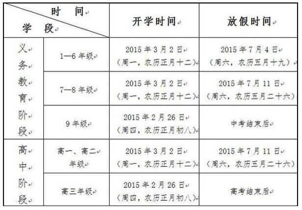 2015年贵州省中小学寒假放假小学及寒假开学时间体育节图片