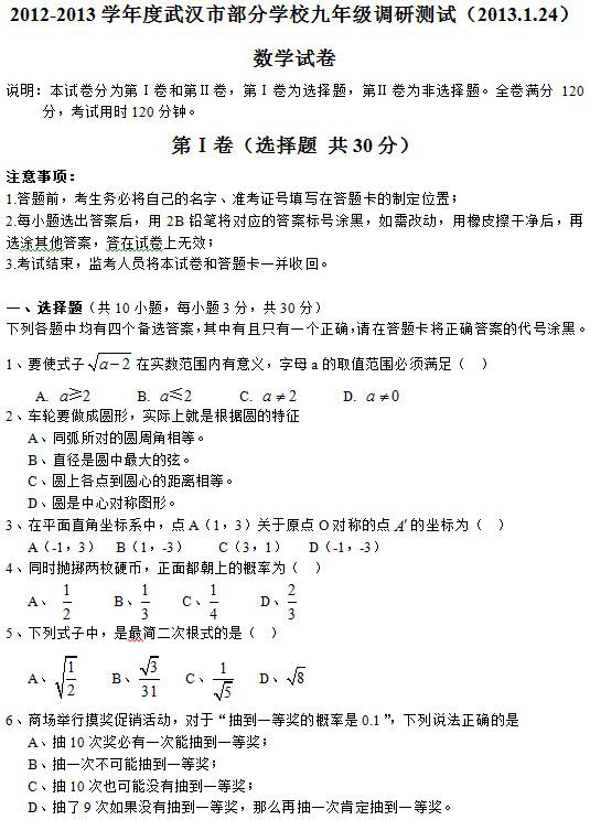 2013武汉初三元月调考数学试卷及答案(图片版)