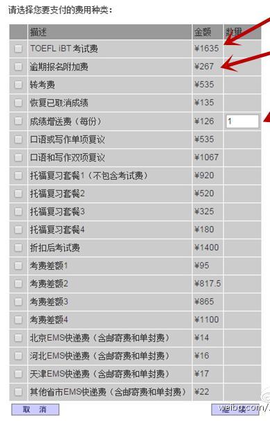 2015年托福考试费用