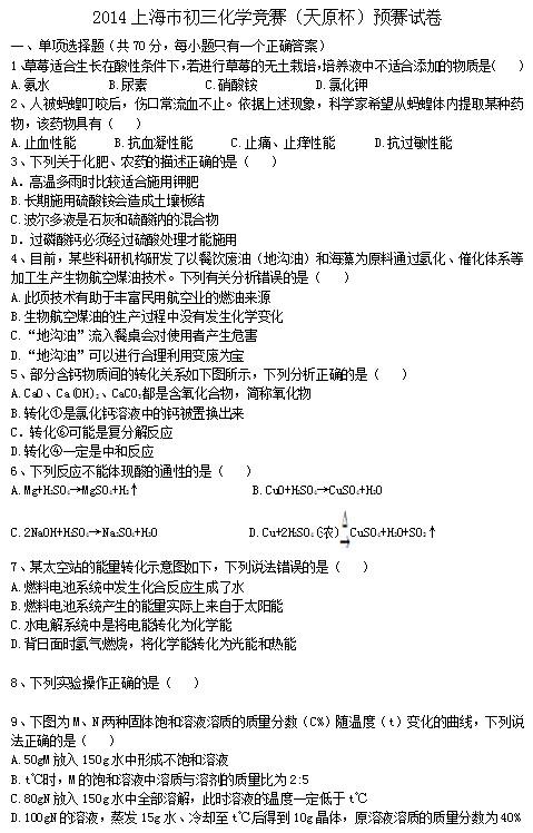 2014上海天原杯化学竞赛初赛试题及答案(图片版)