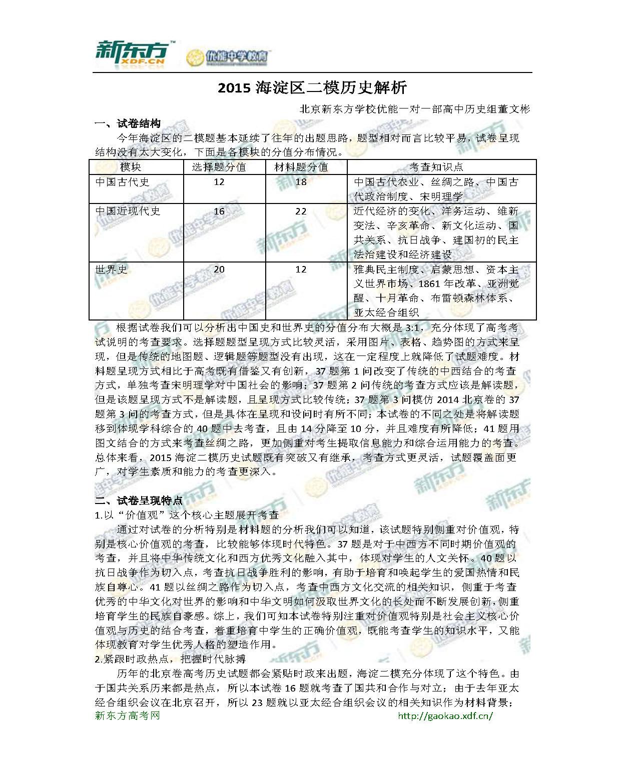 新东方董文彬:2015海淀区二模历史解析