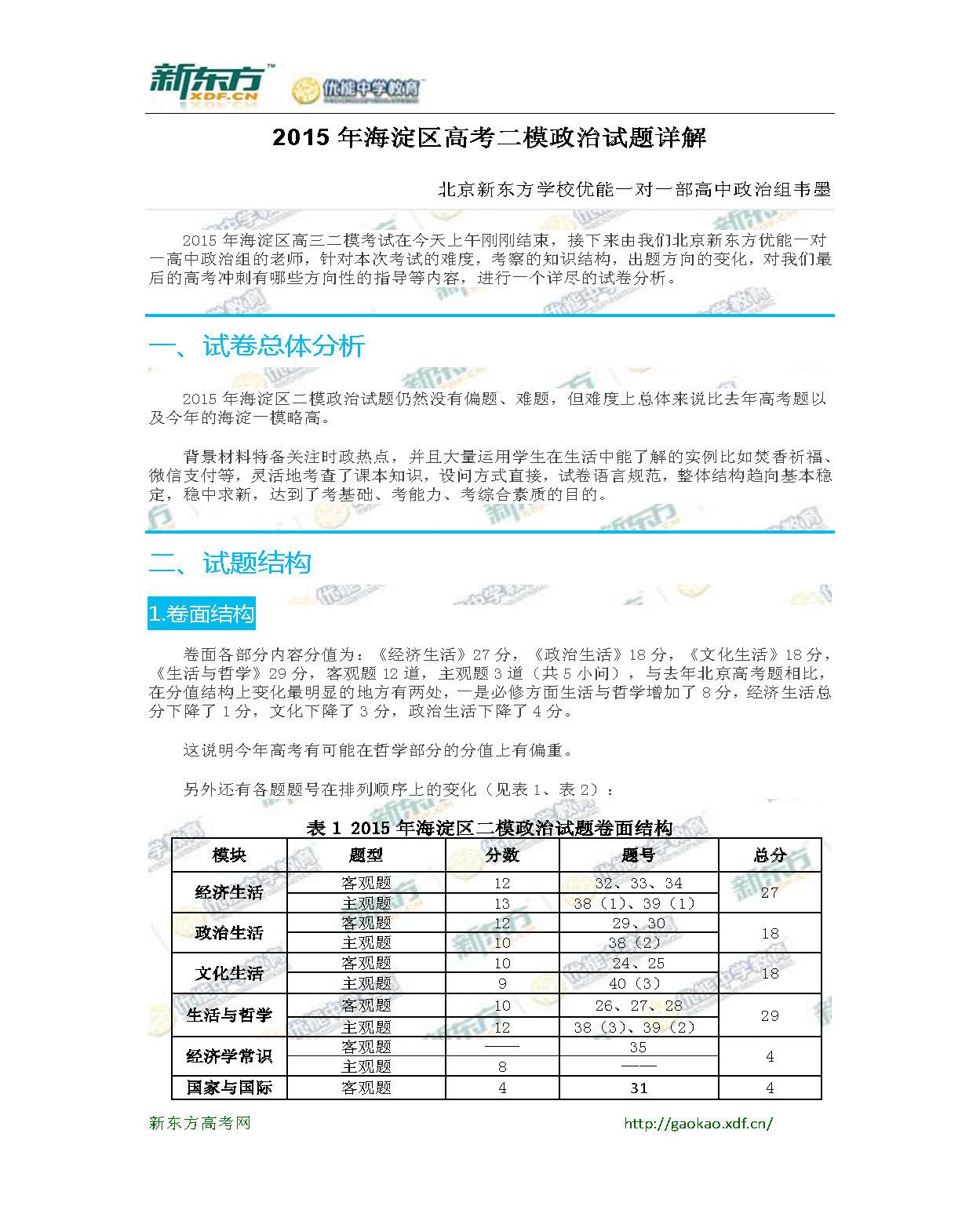 新东方韦墨:2015海淀区高考二模政治试题详解