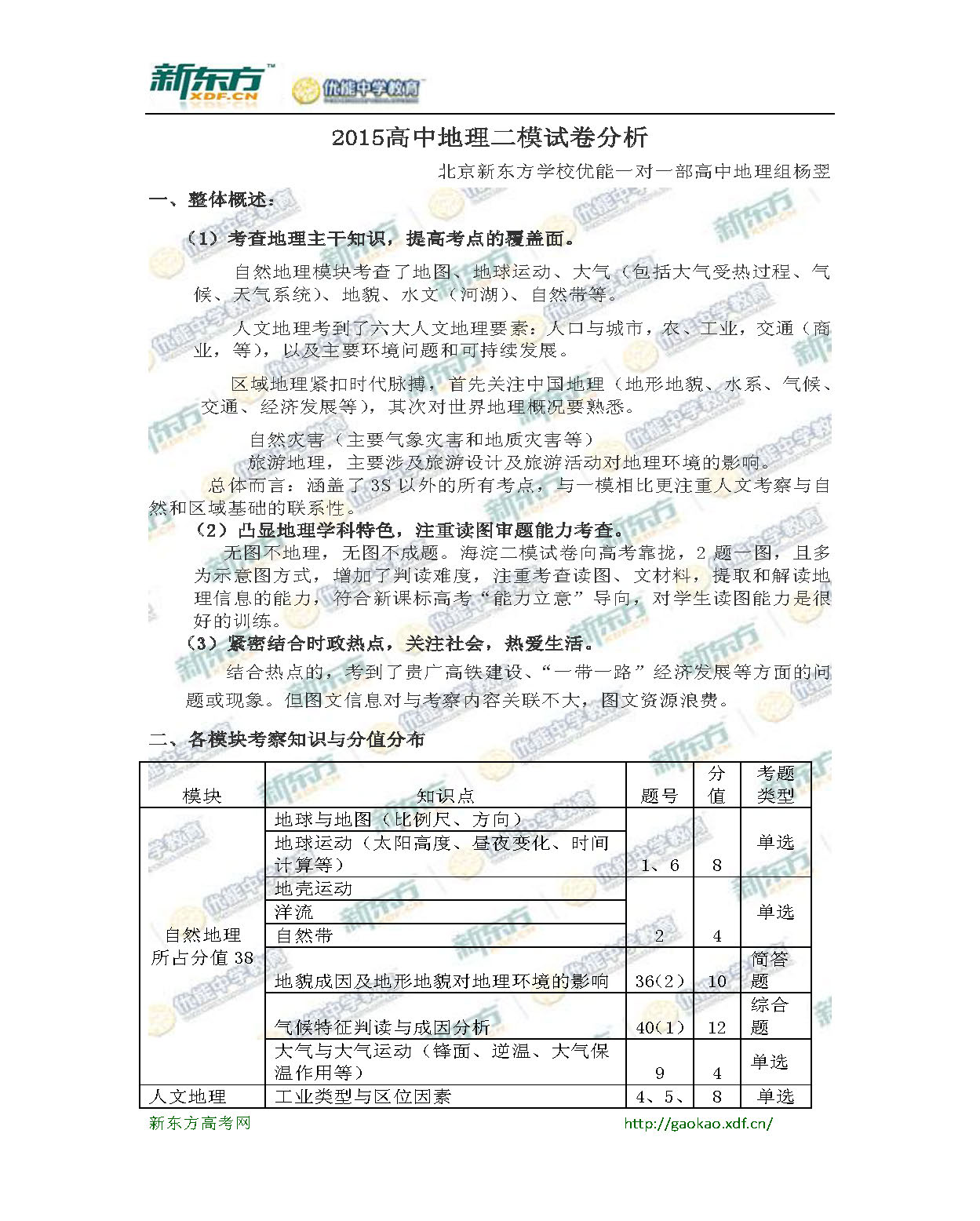 新东方杨翌:2015高中地理二模试题分析