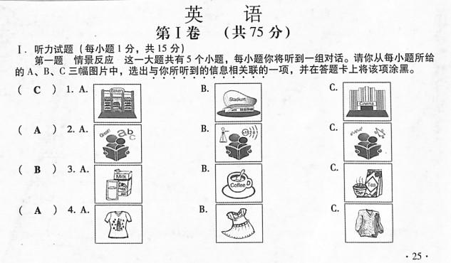 2015山西中考英语试题及答案(图片版)