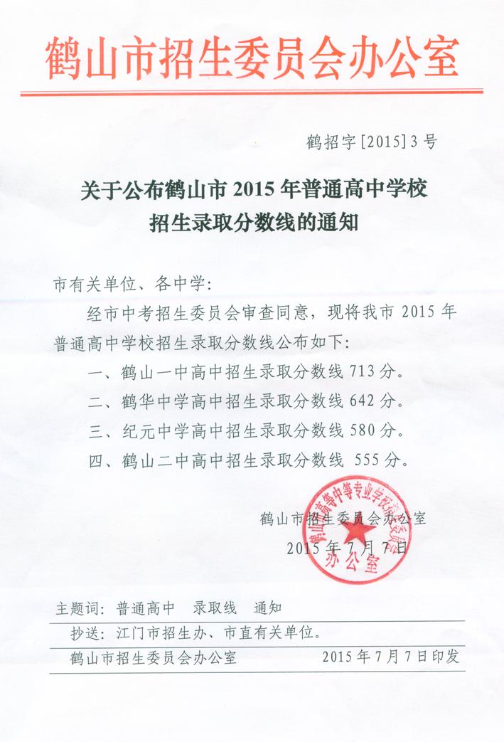 2015鹤山市中考分数线公布