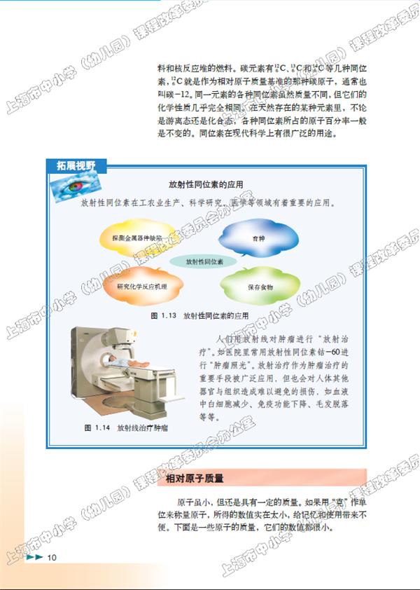 上海高一化学必修教材:原子结构和相对原子质量