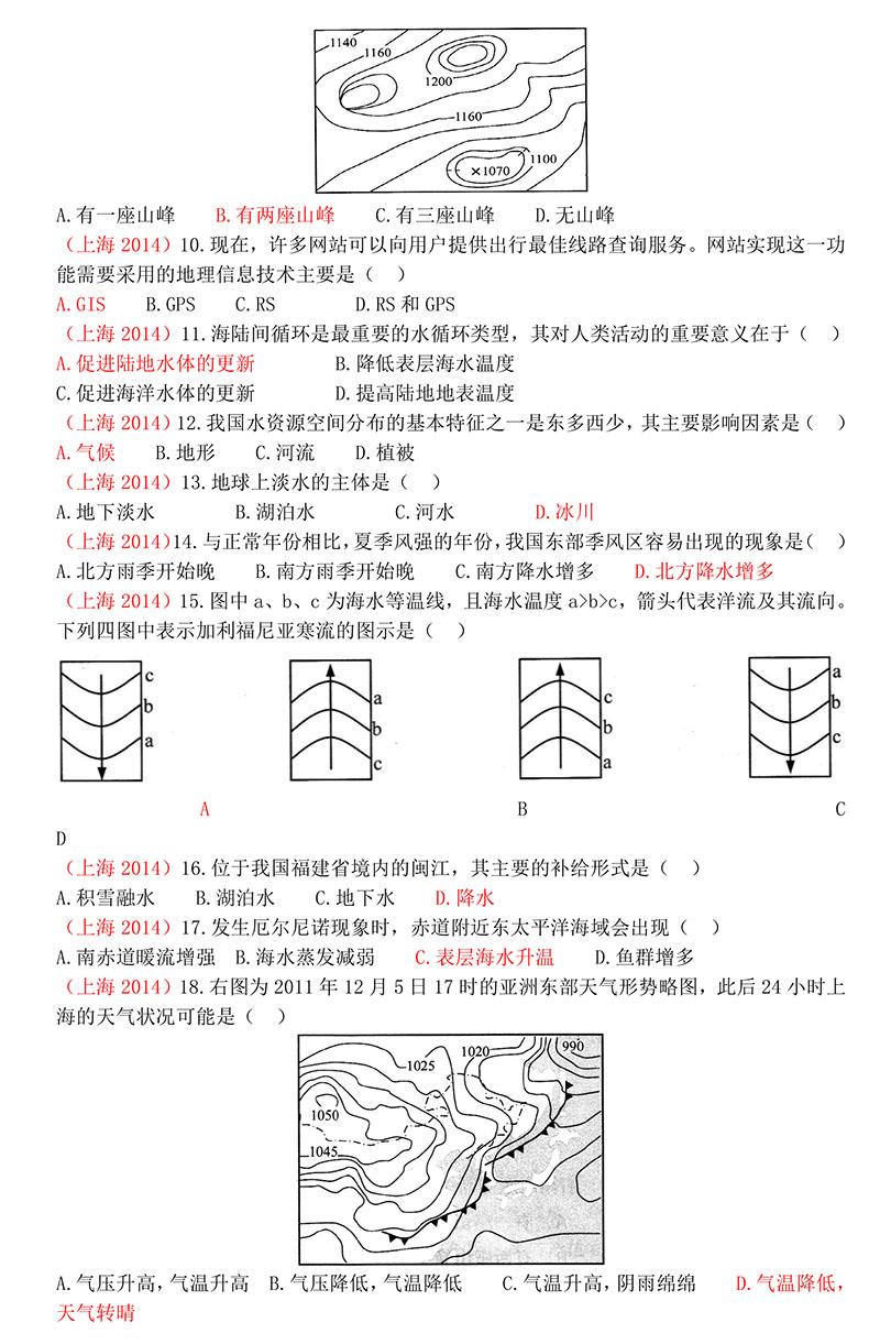 2014年上海市普通高中高中水平考试学业地理有南加州私立的哪些试卷图片