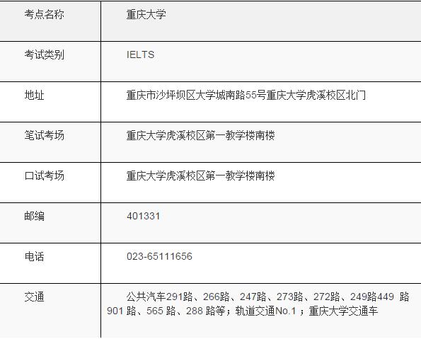关于在重庆大学虎溪校区增设雅思考点的通知