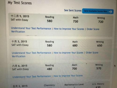已获提前录取 坚持把SAT写作冲上720