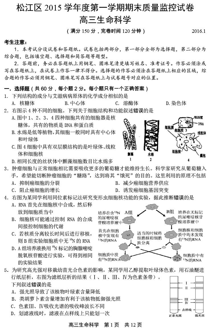 上海松江区2016高三一模生物试题