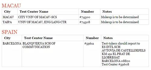 官方消息:2016年1月SAT考试取消考场确认公布