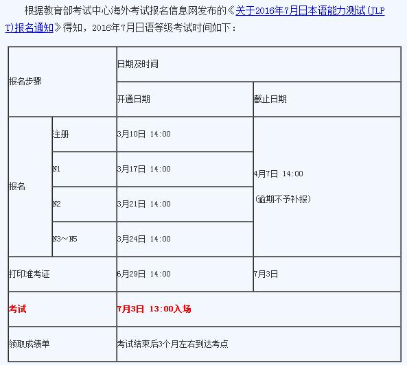 2016年日语等级考试时间