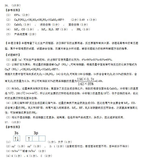 2016吉林长春高三二模各科答案(理综)