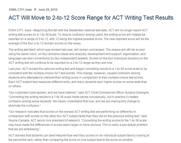 最新消息!ACT写作评分规则改变!