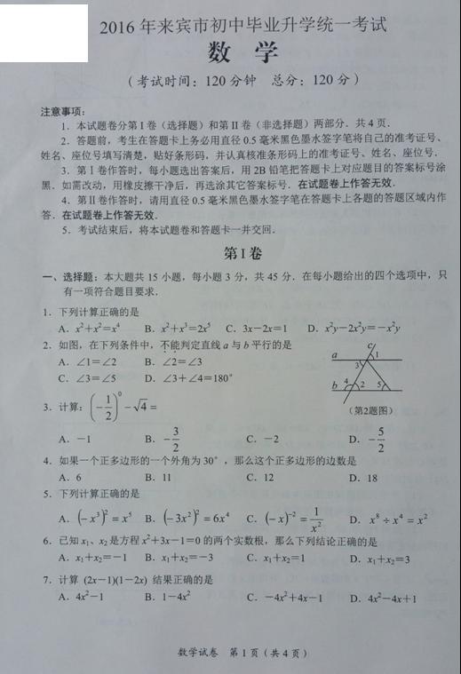 2016来宾中考数学试题及答案(图片版)