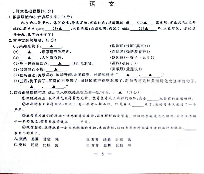 2015绍兴中考语文试卷(图片版)