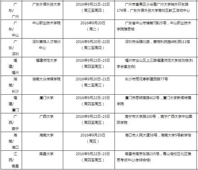 雅思口语考试安排通知 �C 9月24日场次