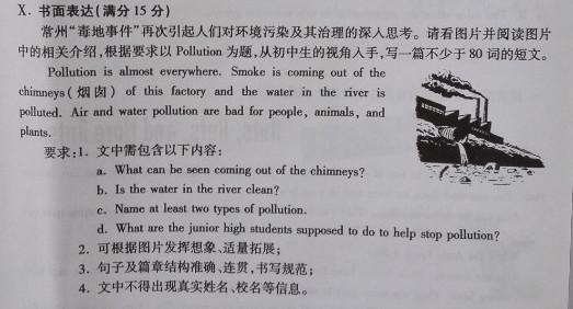 2016定西中考英语作文题目及范文:环境污染