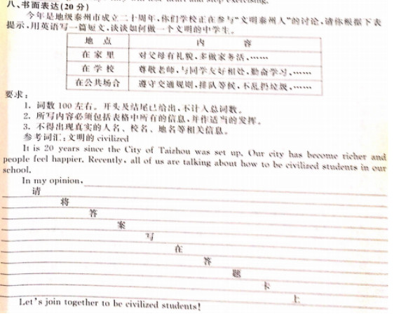 2016泰州中考英语作文题目及范文:文明泰州人