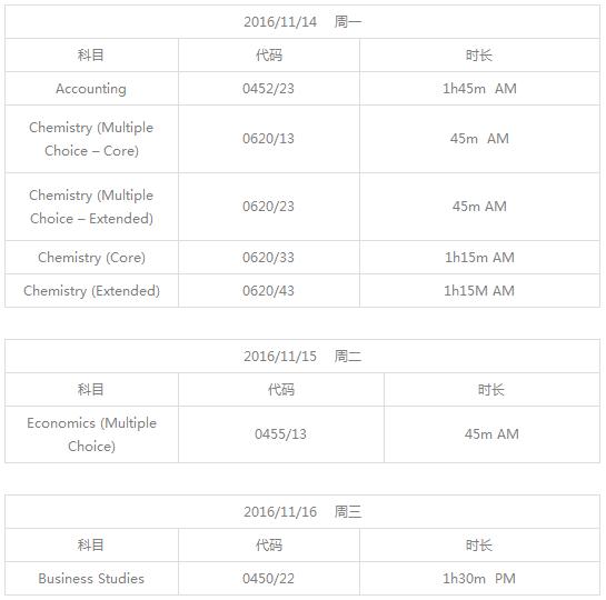 2016年CIE IG考试时间表