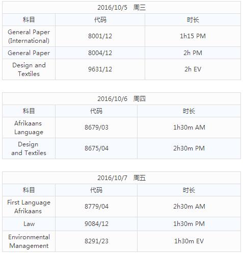 CIE AS2016考试时间表