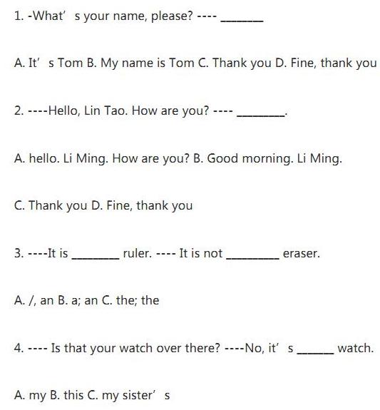 小学六年级英语选择题单项练习