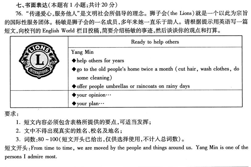 2016宁波中考英语作文题目及范文:狮子会成员事迹推送