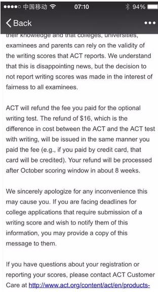 紧急通知,ACT10月22日部分考场写作成绩取消