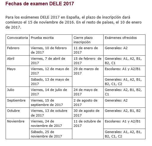 2017年西班牙语DELE考试时间的最新信息