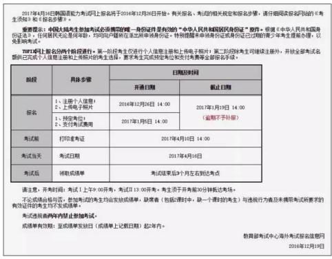 韩语考试:2017年4月TOPIK报名通知(中国大陆)