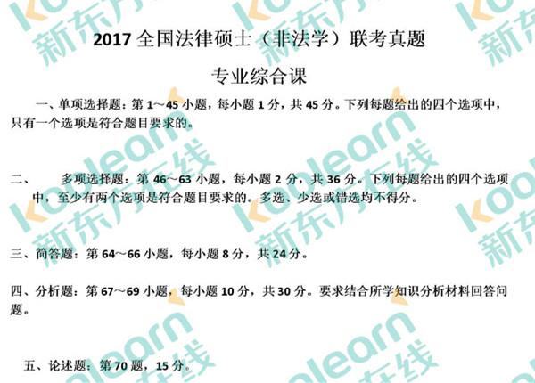 2017考研法律硕士(非法学)联考专业综合课真题(新东方版)