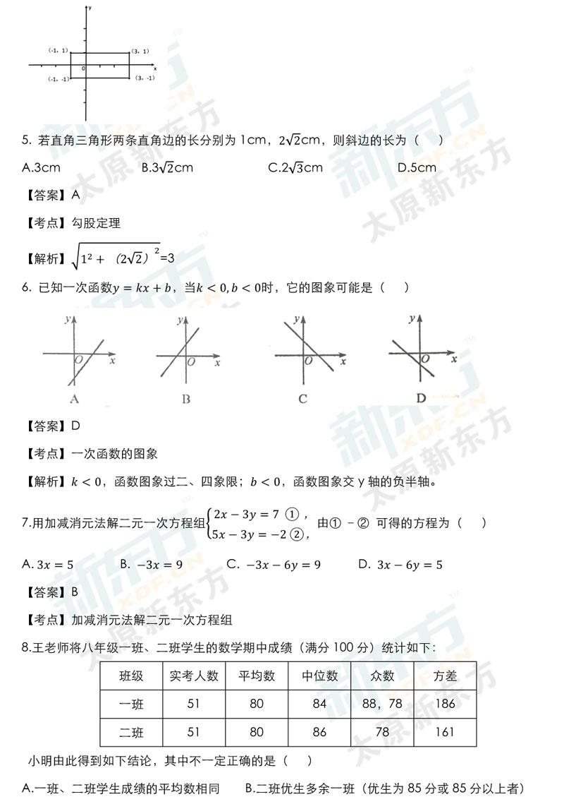 学年第一学期期末考试试卷初二数学试卷答案考点分析