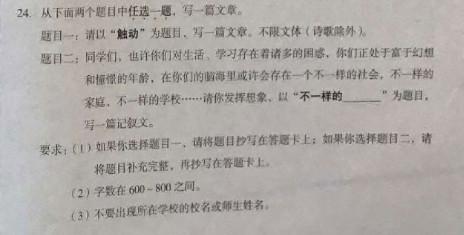 """2017丰台初三上期末作文题目:""""触动""""和""""不一样的___"""""""