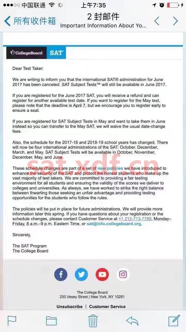 CB取消6月SAT1考试 1月SAT成绩部分考生将被取消