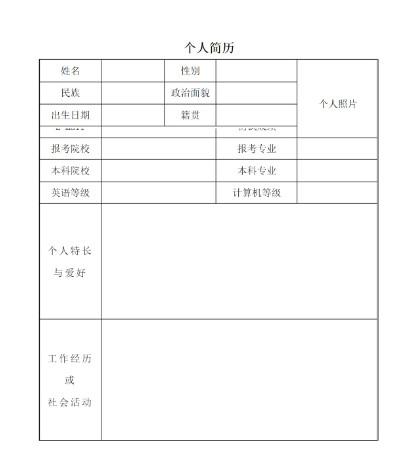 2017考研调剂简历模板