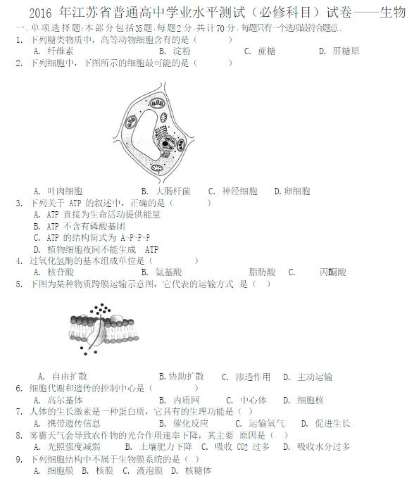 2016江苏普通高中学业水平测试生物试卷及答案