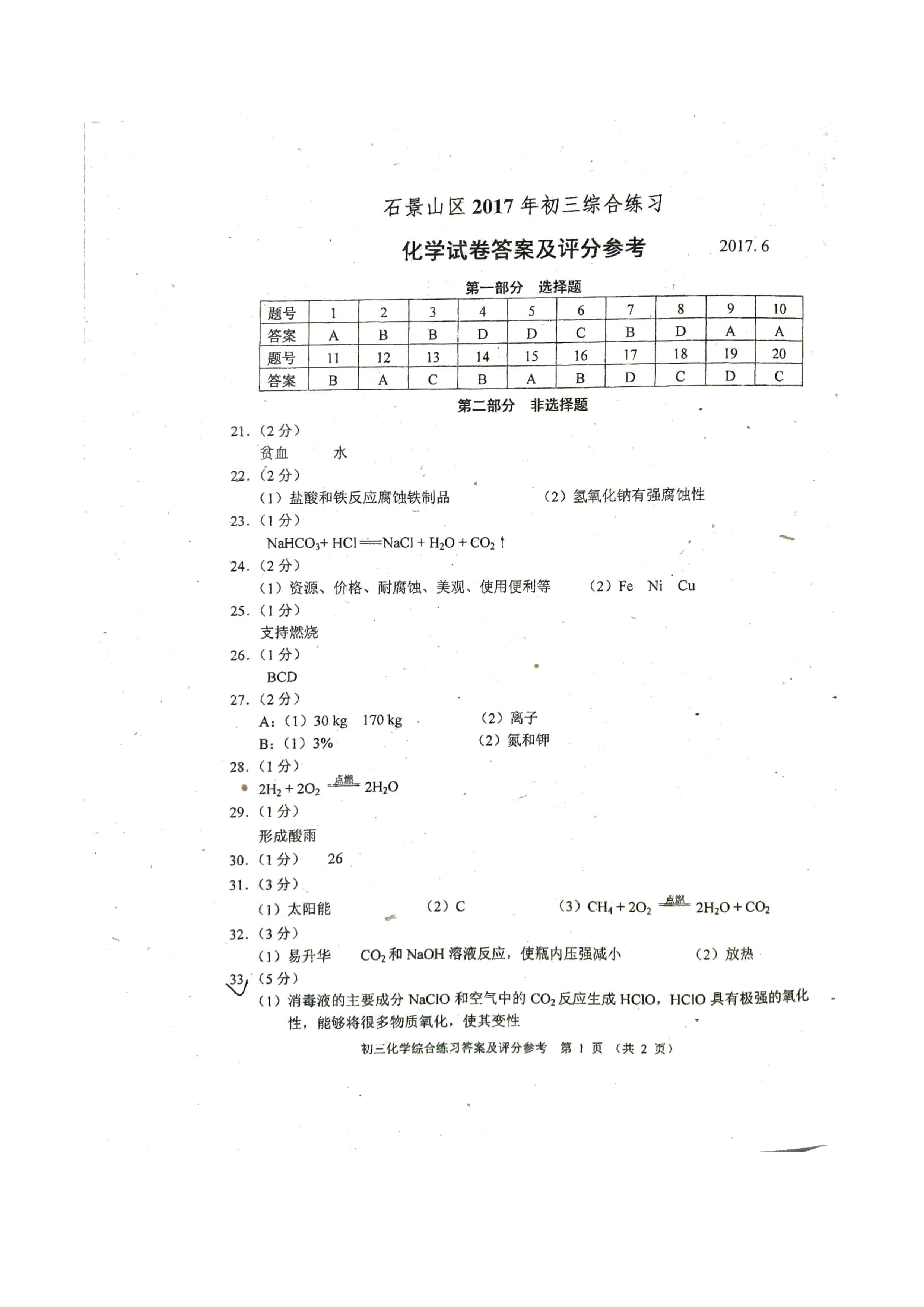 2017石景山初三二模化学试题及答案解析(图片版)