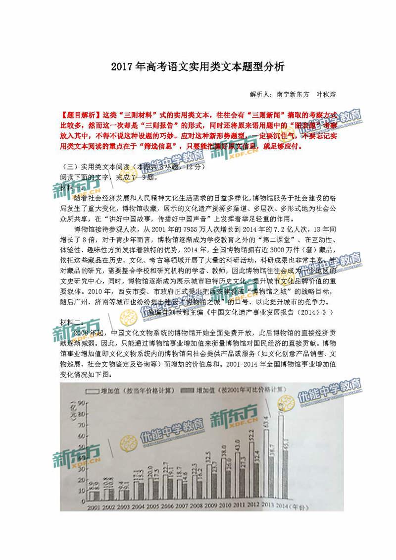 2017年高考全国卷3语文实用类文本题型分析(南宁新东方优能)